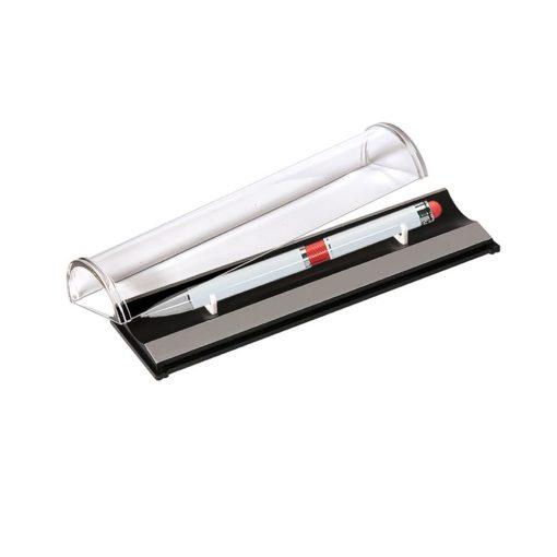 Шариковая ручка, Arctic, нажимной мех-м, корпус-алюминий,белый лак/отделка-гравировка,красное кольцо, в упаковке