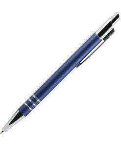 Шариковая ручка, City, нажимной мех-м,алюминий, синий матовый сатин, отделка — хром.