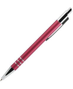 Шариковая ручка, City, нажимной мех-м,алюминий, красный матовый сатин, отделка — хром.. в упаковке