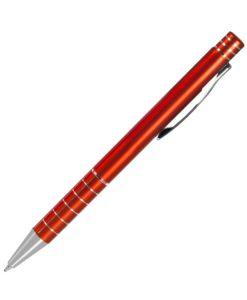 Шариковая ручка, Scotland, нажимной мех-м,корпус-алюминий, оранжевый, матовый/отд-гравировка хром.клетка