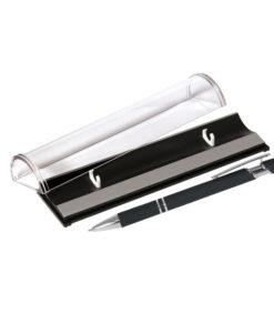 Шариковая ручка, Comet, нажимной мех-м,корпус-алюминий,покрытие-soft touch, под лазер.гравир,отд-гравир-ка,хром, силик.стилус, черный, в упаков