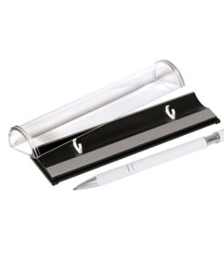 Шариковая ручка, Comet, нажимной мех-м,корпус-алюминий,покрытие-soft touch, под лазер.гравир, отд-гравир-ка,хром, силикон.стилус, белый, в упаков