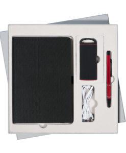 Подарочный набор Portobello/River черный-4 (Ежедневник недат А5, Ручка, Power Bank)