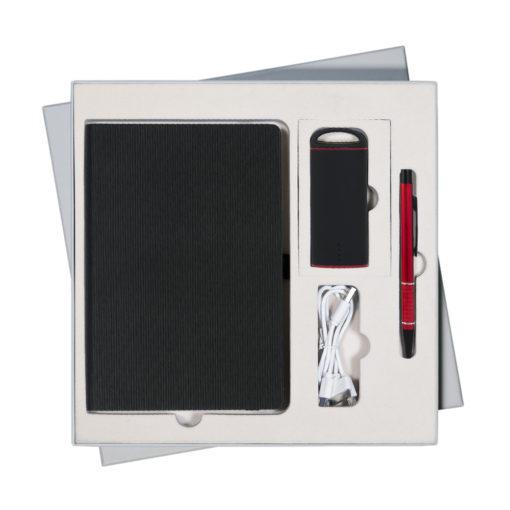 Подарочный набор Portobello/Riain черный-4 (Ежедневник недат А5, Ручка, Power Bank)