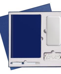 Подарочный набор Portobello/Sky синий (Ежедневник недат А5, Ручка, Power Bank)